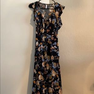 Black Floral Xhilaration midi dress, XS!